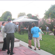 Photo of parents at our garden reception for the Fall Recital Series - wine, h'ors doeuvres, and a chance to meet the other parents!