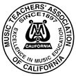 Logo of Music Teachers Association of California organization that sponsors Certificate of Merit annual evaluations for California piano voice string and woodwind students